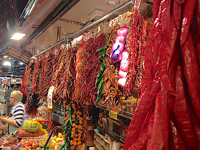 Peppers hanging in the market